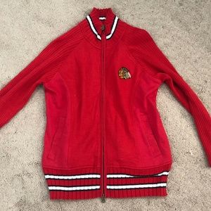 Womens' Chicago Blackhawks Red Full Zip Size Large